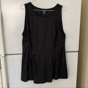 Size 1 Torrid Black lace up peplum top